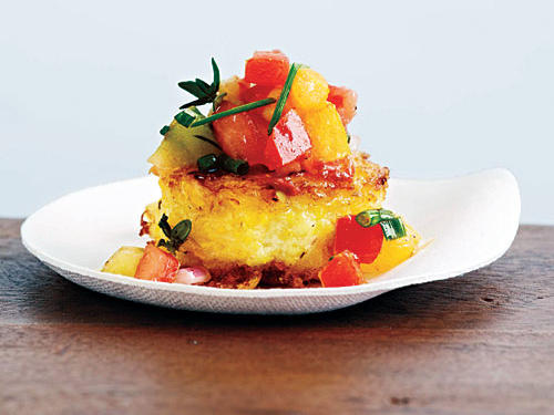 Fresh Corn Cakes with Smoked Tomatoes