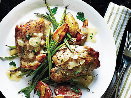 Roasted Chicken Thighs with Mustard-Thyme Sauce