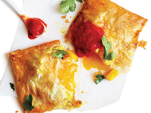 Tucked inside crisp, flaky phyllo dough pastry are tender potato chunks and a perfectly cooked egg.