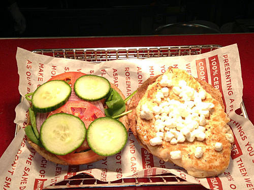 Smashburger Grilled Chicken Spinach and Goat Cheese Sandwich