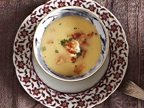 Tangy yogurt and smoky bacon provide a nice and unexpected counterpoint to this sweet, creamy soup. Serve with fresh bread or as a starter with a meat-based entrée.