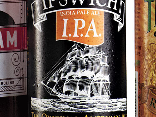 Old-TimeyIf there's one industry that has earned its right to historical allusions, it's this one. Beer is part of our founding history. Brewers like Ben Franklin and Sam Adams took time between draughts to make a nation. Massachusetts-based Ipswich evokes the state's deep coastal heritage with elegant drawings of sailing ships on its line of ales.