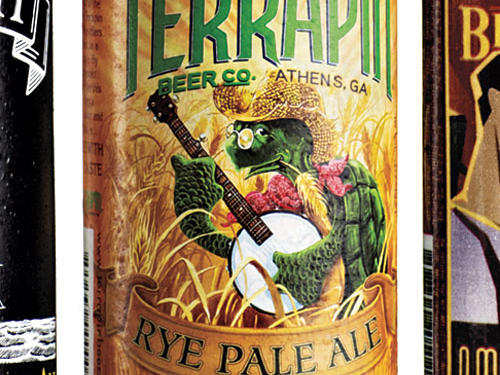 CrittersAnimals sell everything in America (airlines, trucks, investment advice), so why not beer? There are several genres, including sport fishing (beauties from Ballast Point Brewing Company). But no critters are more adorable than the turtles that play banjo, kayak, and chop hops on the labels of Athens, Georgia's Terrapin Brewing Company.Artist: Richard Biffle