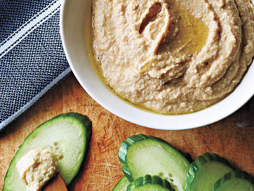 Peanut Butter Hummus with Cucumber Dippers