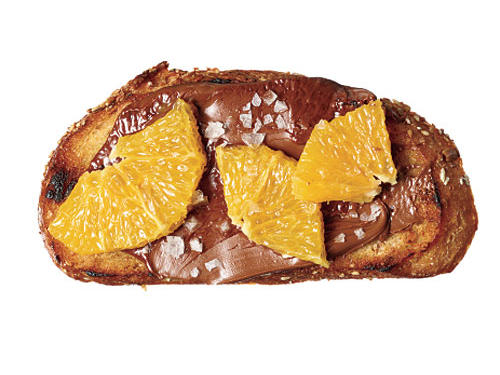 Spread 1 tablespoon chocolate-hazelnut spread (such as Nutella) on a slice of crusty French bread. Top with fresh orange segments; sprinkle with sea salt.CALORIES: 191; FAT: 5.6g (sat 1.8g); SODIUM: 312mg