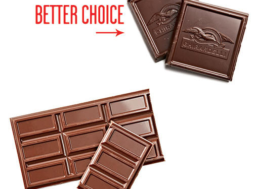 Dark chocolate has half the sugar of milk chocolate. Save 8g per ounce. Intense dark chocolate, savored slowly, can last as long and deliver the satisfaction you want. Try 2 squares versus a whole candy bar.