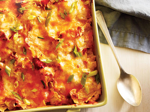 This casserole retains all the full-flavor of the popular, Mexican, chicken comfort dish but with lighter ingredients.