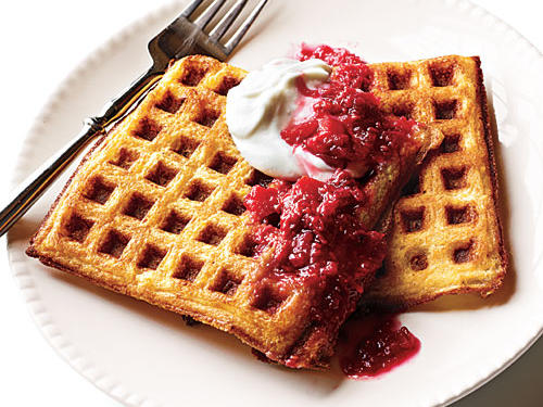 Lemon Cornmeal Waffles with Raspberry-Rhubarb Compote