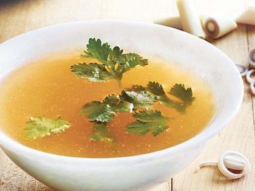 Delicious on its own or in recipes that call for broth. For a main-dish soup, pick the chicken meat off the bones, and add it and 1½ cups cooked rice to the broth.