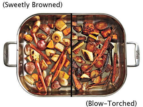 A mixed batch of roasted winter vegetables is the perfect healthy side this time of year: hearty, sweet and savory, full of nutrients and fiber. And it seems easy. But what's even easier is turning out vegetables that are pale and soggy from overcrowding, or, worse still, black and dry from overcooking. The problem is that while different veggies can certainly cook in the same pan, they need to be sized and spaced with care. It also helps if you use a good, thick pan, as thin pans conduct heat unevenly and lead to scorching.The solution: Cut veggies about ½ inch thick. Items that stay whole, like baby carrots, can be your benchmark there. Preheat the oven to between 400° and 450° with a heavy roasting pan inside; the hot pan will jump-start the browning process. Spread oil-coated veggies in the hot pan in a single layer; don't crowd them, because that leads to steaming. Stir after 15 minutes to promote even browning and prevent sticking. Check after another 10 minutes, and then pull when gorgeously browned and fork-tender. If they're well browned but still tough, sprinkle with a couple of tablespoons of water, reduce heat to 350°, and cook until tender.