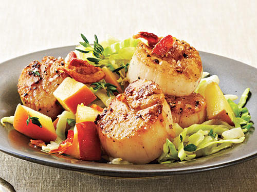 Quick but hearty, serve this sweet and savory scallop dish with roasted potatoes.