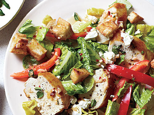 Low in calories and packed with fresh flavors, this Greek Chicken Bread Salad uses ingredients you may already have on hand.