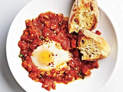 Switch up your regular breakfast routine with something tasty. Poaching eggs in marinara is easy since the sauce is quite thick. The sauce gives so much more flavor to the eggs compared to the normal water-poaching method. Keep some toasted Italian or French bread handy – you will want to dip.