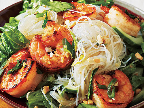 Vietnamese Salt and Pepper Shrimp Rice Noodle Bowl