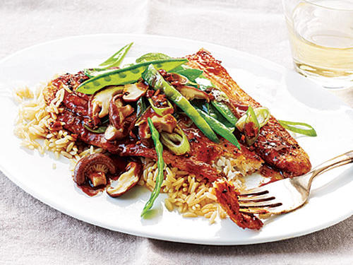This Asian-inspired fish is quick and satisfying. Crunchy snow peas give a delightful crunch.