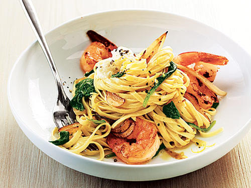 Fresh packaged noodles and quick-cooking shrimp make this a snap.