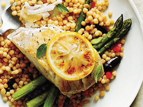 Halibut with Olive and Bell Pepper Couscous