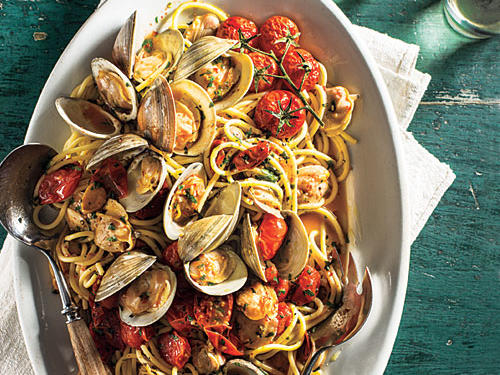 There's no need to travel the world (unless you just want to go!) to enjoy delicious spaghetti dishes. Some of our best recipes include unique ingredients like clams, olives, and poached eggs for dinner dishes that will have family and friends singing your praises.Our first dish is Spaghetti with Clams and Slow-Roasted Cherry Tomatoes. Spaghetti dressed with clams is a Southern Italian classic. The briny liquor released by the clams beautifully coats the noodles, while the little bits of meat get caught up in the tangled strands.