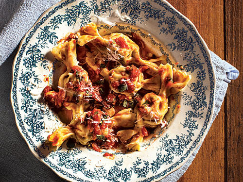 The dough is supple and lovely to work with, and the little bundles are a pleasure to form. So get out that pasta roller, or borrow one: This dish is fun and dazzling!