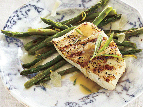 Choose U.S. wild-caught halibut. The sauce would be tasty with cod or inexpensive tilapia.Grilled Halibut with Tarragon Beurre BlancRosemary-Garlic Roasted PotatoesAsparagus with Lemon and PecorinoView Menu: Grilled Halibut with Tarragon Beurre Blanc Menu