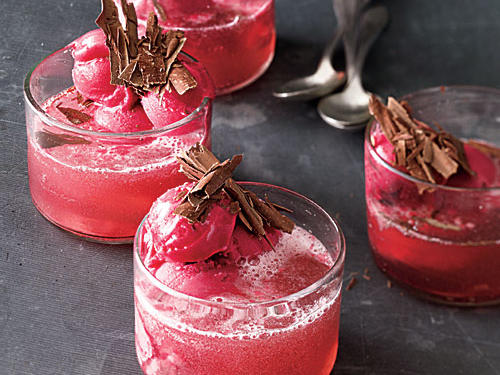 Raspberry sparkling wine has a pretty pink color and lightly sweet flavor; you can use regular sparkling wine for a less sweet dessert. Or you can skip the alcohol and use raspberry-flavored seltzer water instead.