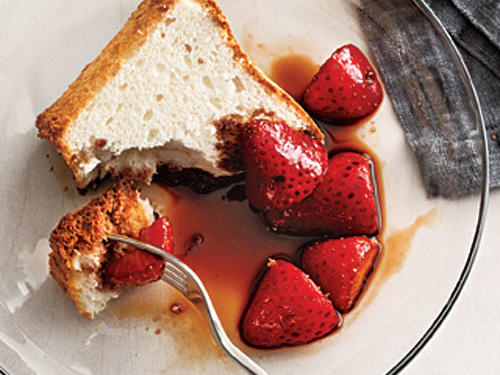 Desserts: Balsamic Strawberries over Angel Food Cake