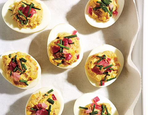Deviled Eggs with Pickled Onions
