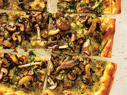 View Menu: Four-Mushroom Pesto Pizza Menu