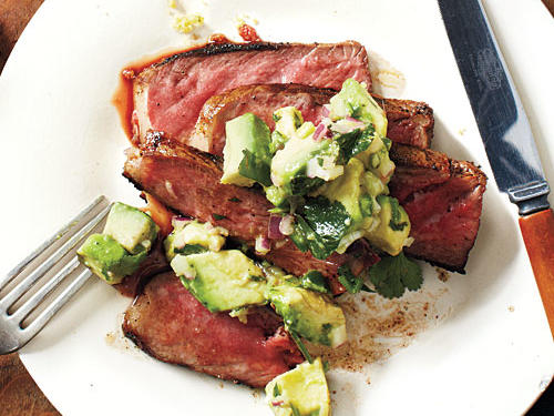 Ready in just 26 minutes, this strip steak topped with avocado-lime salsa is an ideal way to add a unique twist to a weeknight steak dinner.