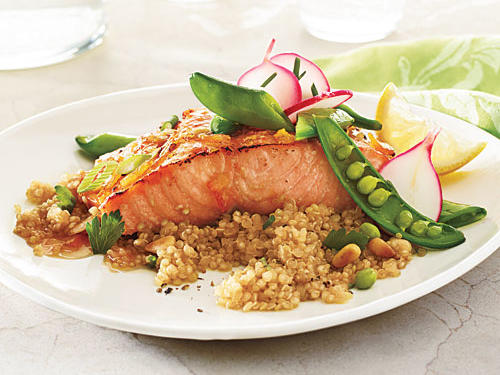 There are a number of sustainable salmon options available; look for U.S.-caught and U.S.-farmed fish.Roasted Salmon with Soy-Marmalade GlazeSnap Pea and Radish SautéQuinoa with Toasted Pine NutsView Menu: Roasted Salmon with Soy-Marmalade Glaze and Snap Peas Menu
