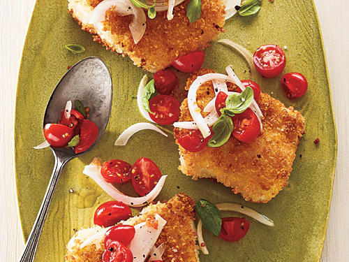 Look for U.S.-caught Alaska cod, gray cod, or true cod.Panko-Crusted Cod with Tomato-Basil RelishCreamy Tomato SoupSoba Noodle SaladView Menu: Panko-Crusted Cod with Tomato-Basil Relish Menu