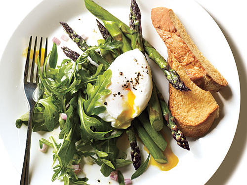Roasted Asparagus and Arugula Salad with Poached Egg