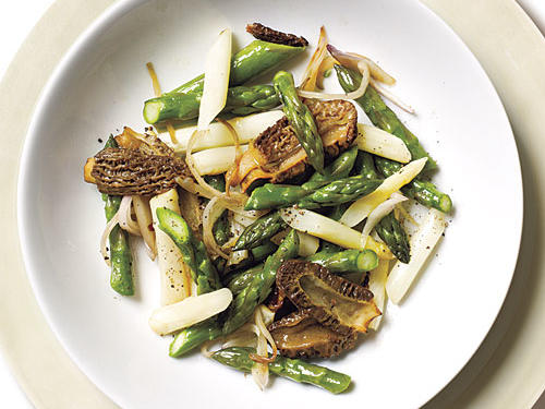 Blanching the asparagus first helps set its color and texture. To ensure the best taste and cut down on prep time in the kitchen, buy firm, unshriveled morels that are dry, not slimy, and free of excessive dirt.