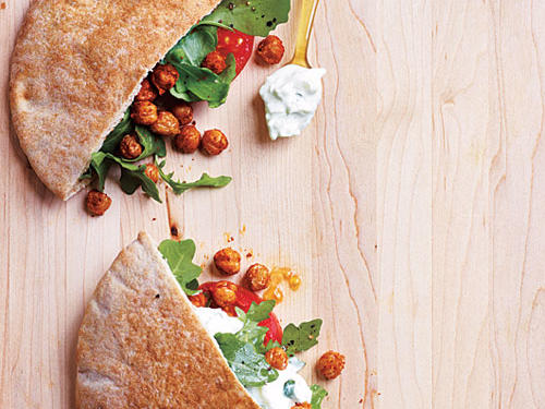 Fried Chickpea and Arugula Pita Sandwiches with Lime Tzatziki