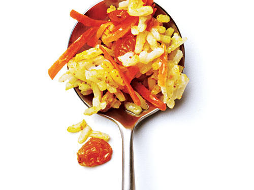 Stir ¾ cup grated carrot, 2 tablespoons golden raisins, 1 teaspoon Madras curry powder, and ¼ teaspoon kosher salt into rice.See Nutritional Analysis