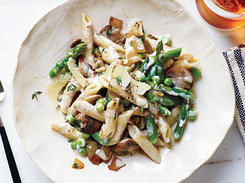 Spring Vegetable Penne with Lemon-Cream Sauce recipe