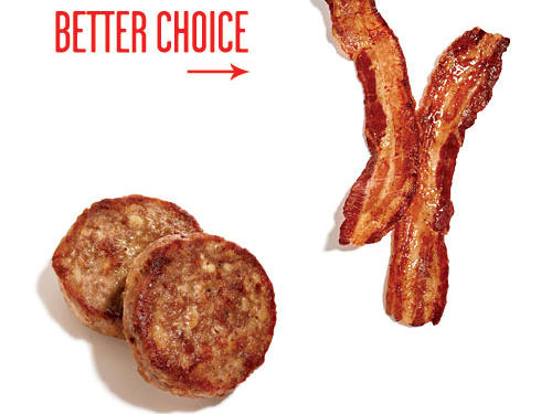You can still be seduced by salty, fatty breakfast pork from time to time. Center-cut bacon has only 25 calories per slice. It still has nearly 200mg sodium, though, so indulge in moderation.