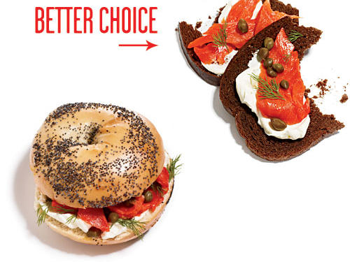 Enjoy your lox and cream cheese open-faced on a slice of whole-grain pumpernickel instead of the 300-calorie bagel. Cut back on capers by ½ tablespoon and you'll also save 125mg sodium.