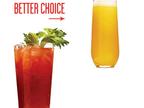 A 12-ounce Bloody Mary contains two shots of vodka—the main source of calories—and four-digit sodium numbers. Whoa, Mary! Portion-size plus: The mimosa also comes in a sleek 8-ounce glass.