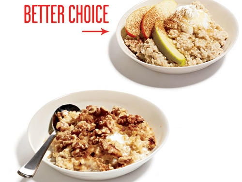 Calories from cream, brown sugar, and nuts can quickly weigh down a virtuous bowl of oats. Add crunch with apples, creaminess with nonfat Greek yogurt, and yum with a touch of honey and cinnamon.