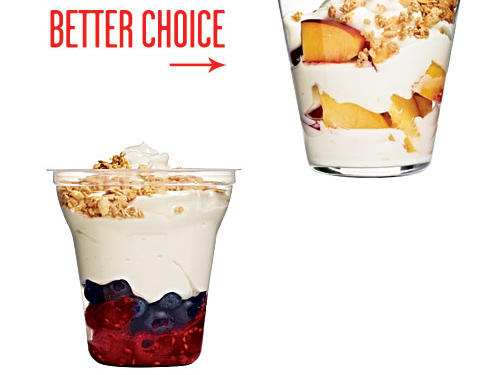 Many grab-and-go parfaits are full of syrupy, sugar-coated fruit—more dessert than breakfast. Build your own with 6 ounces fat-free yogurt, syrup-free fresh peaches, and 2 tablespoons low-fat granola.