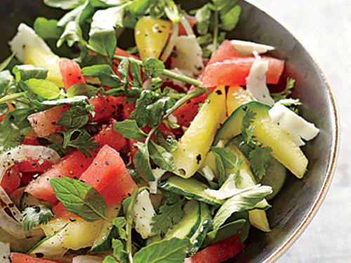 Briny feta cheese and tangy lime juice make great partners for sweet watermelon.
