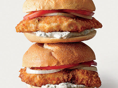 Breaded Fish Sandwiches with Mint-Caper Tartar Sauce