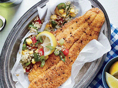 Farmed catfish is an inexpensive, sustainable option. For a kid-friendly dish, omit the jalapeño in the quinoa.