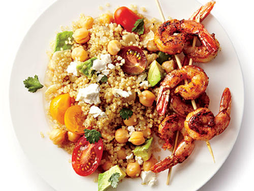 Quinoa, shrimp, and chickpeas pack a triple punch of protein into this tasty dish.