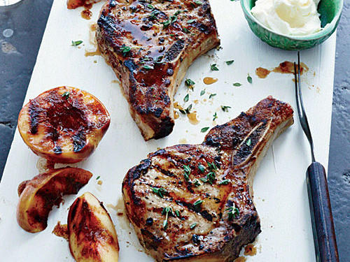 Grilled Pork Chops with Nectarines