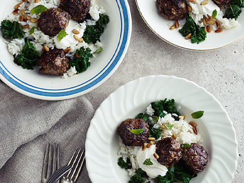 Virginia Recipe: Lamb Meatballs with Kale, Cumin Yogurt, and Carolina Gold Rice