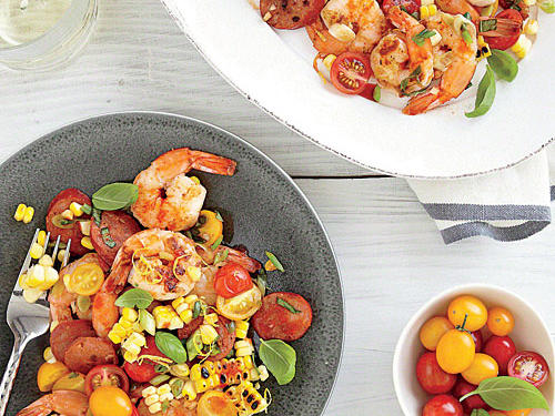 Shrimp, Chorizo, and Corn Salad