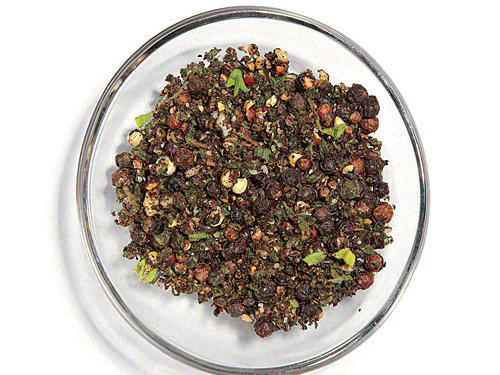 Combine 1 tablespoon whole black peppercorns, 1 tablespoon fresh oregano leaves, ¼ teaspoon salt, and 1 crushed garlic clove in a mini food processor or mini chopper; pulse 8 to 12 times or until the mixture is coarsely to finely ground, as desired.SERVES: 4 (serving size: 1½ teaspoons)CALORIES 3 FAT 0.1g (sat 0g) SODIUM 147mg