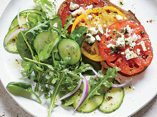 Utilize summer's bounty in this superfast, super healthy open-face tomato sandwich.